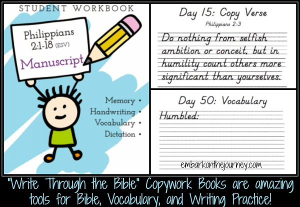 Write Through the Bible books are excellent tools to have in your #homeschool for Bible, Writing, and Vocabulary practice! | embarkonthejourney.com