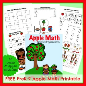 FREE #Apple Math #Printables PreK-2 | embarkonthejourney.com
