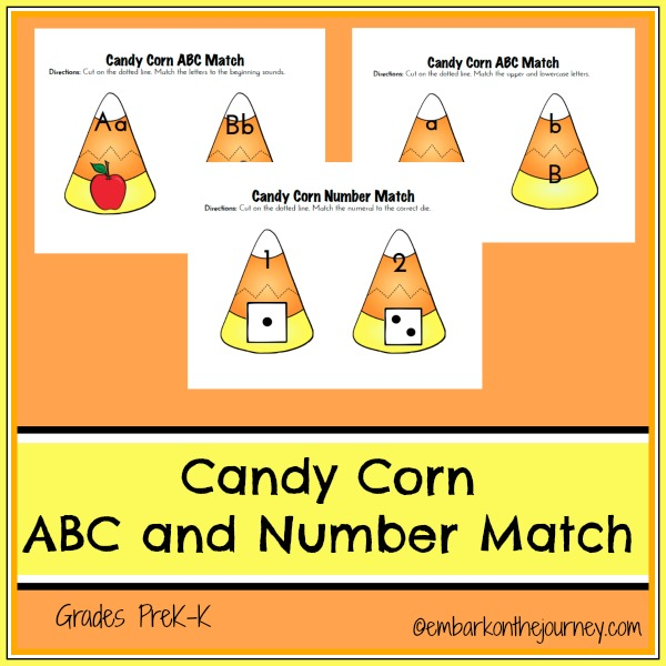 Candy Corn ABC and Number Match