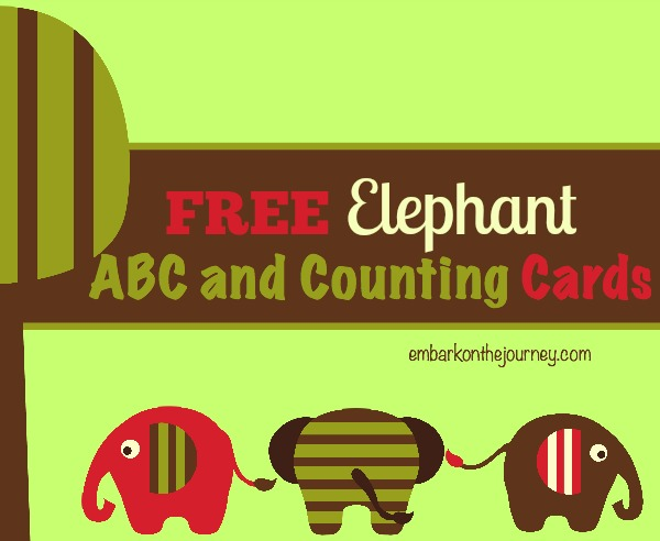 Celebrate Elephant Appreciation Day with free elephant ABC and Counting Cards. | embarkonthejourney.com