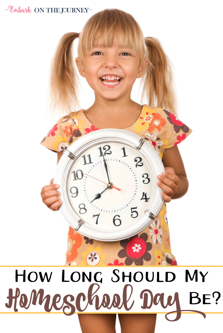 "One question that many new homeschool moms ask is ""How long should we homeschool each day?"" Most of the time, that question is said while comparing a ""typical"" homeschool day to a ""typical"" public school day. So, the answer to ""how long"" really depends on a couple of things. 