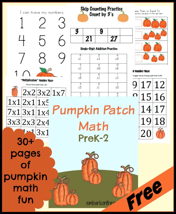 Free #Pumpkin Patch Math Printables #preschool #kindergarten | embarkonthejourney.com