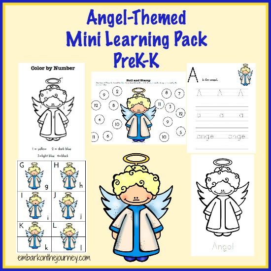 Angel #Printable Learning Pack PreK-K | embarkonthejourney.com