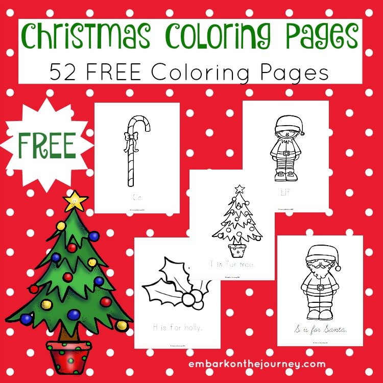 Get your kids in the holiday spirit with these free Christmas coloring pages. This set includes 52 pages with four different styles of tracing lines on each page.| embarkonthejourney.com