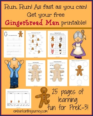 Epic image with the gingerbread man story printable free