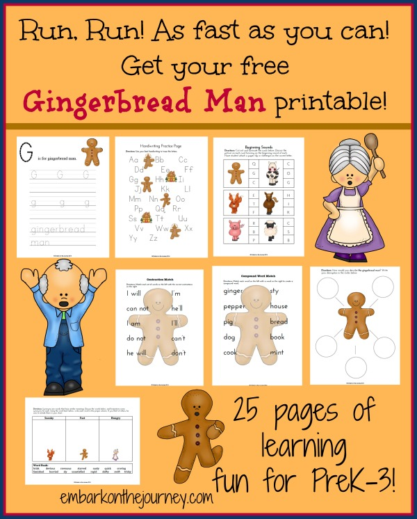 gingerbread man printable and unit study gingerbread man printable