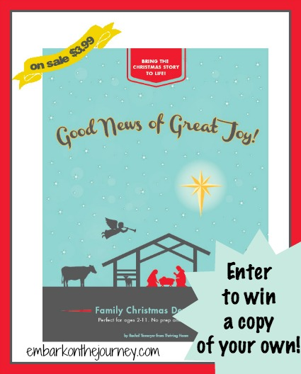 Enter to win a copy of Good News of Great Joy! | This once-a-week, family devotional is designed to bring the Christmas story to life for children ages 2-11. | embarkonthejourney.com