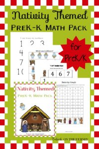 Preschoolers and kindergarteners can practice their math skills this holiday season with a fun nativity-themed math learning pack. | embarkonthejourney.com