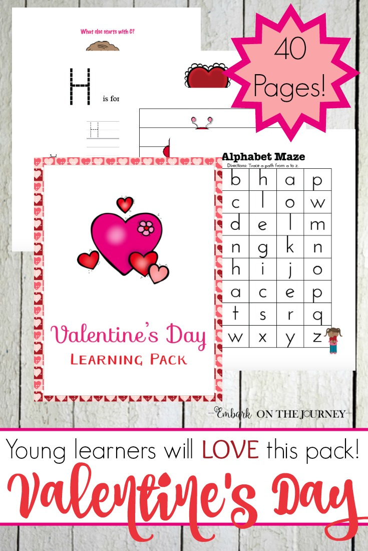 Spread a little learning love this Valentine's Day with this amazing 40-page Valentine's Day printable for preschool-Grade 1. | embarkonthejourney.com