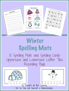 Free Printable Winter Spelling Mats for homeschool and classroom use! | embarkonthejourney.com