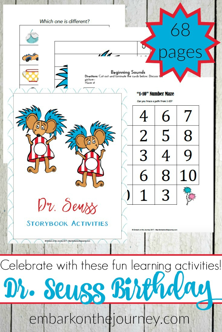 March 2 is Dr. Seuss birthday! Celebrate with these Dr. Seuss birthday activities and printables for preschoolers and young learners. | @homeschljourney