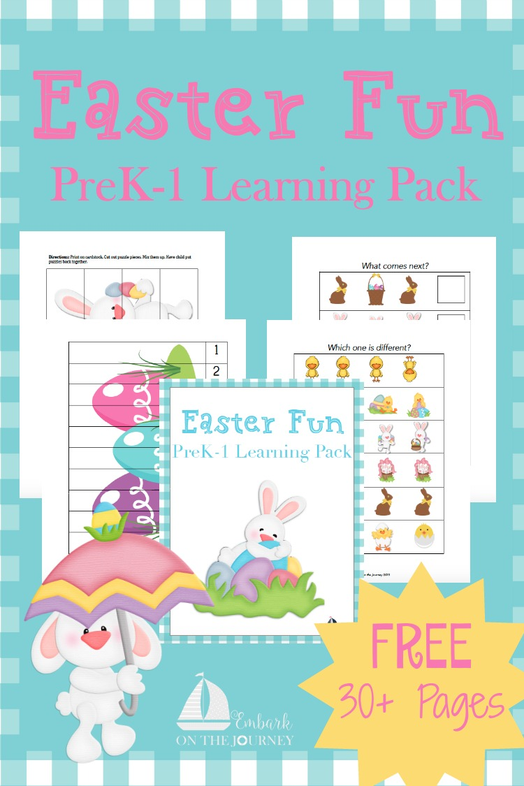 Hippity Hop your way over to download this free Easter printable jam packed with 30+ learning pages! | embarkonthejourney.com