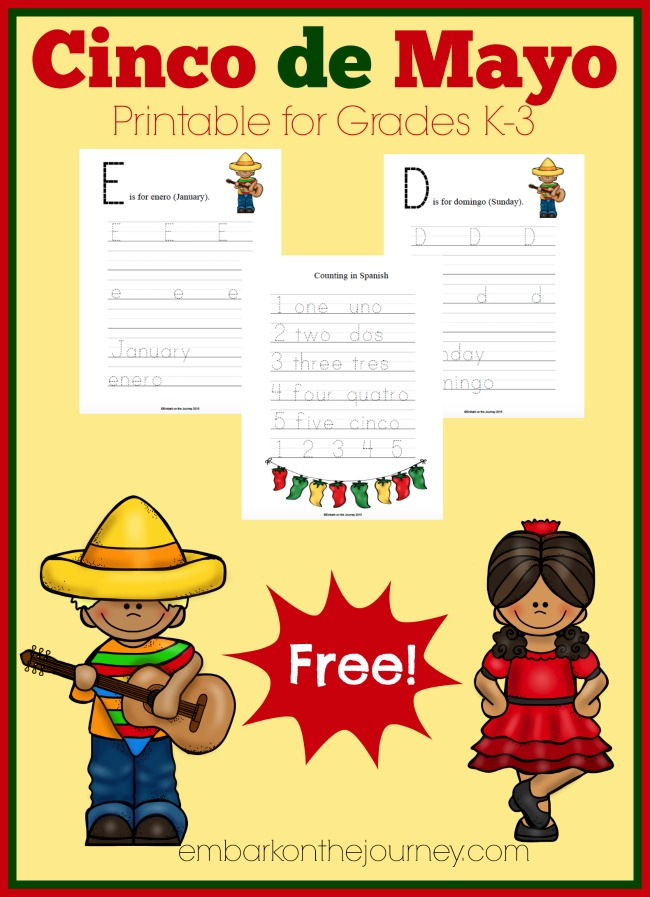 Celebrate Cinco de Mayo with these FREE activity pages for grades K-3! | embarkonthejourney.com
