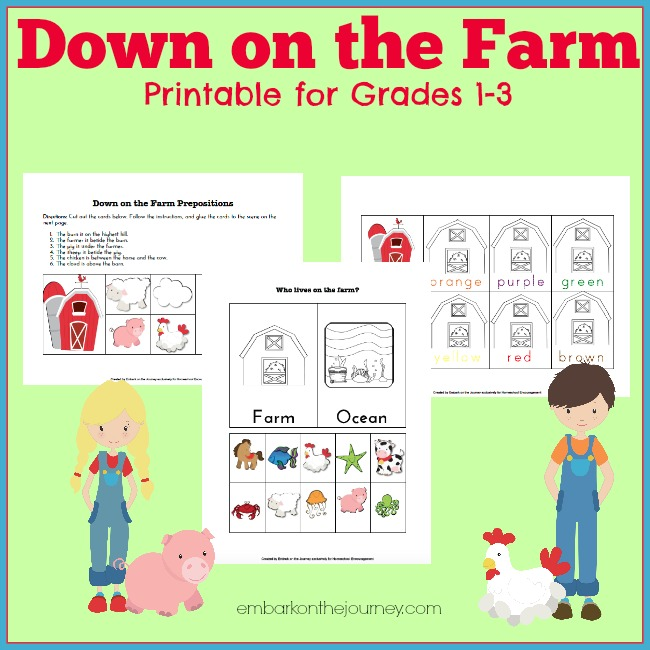 Enrich your farm-themed unit study with this free printable pack for grades 1-3. | embarkonthejourney.com