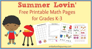 Free Summer Time Math Activity Pages