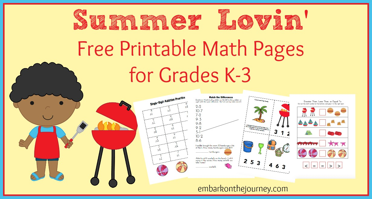 Sneak in some summer math practice with these FREE Summer Lovin' math pages for grades K-3. | embarkonthejourney.com