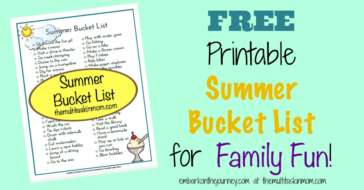 Free Printable Summer Bucket List for Kids