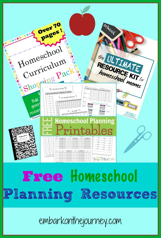 Free Homeschool Planning Resources | embarkonthejourney.com