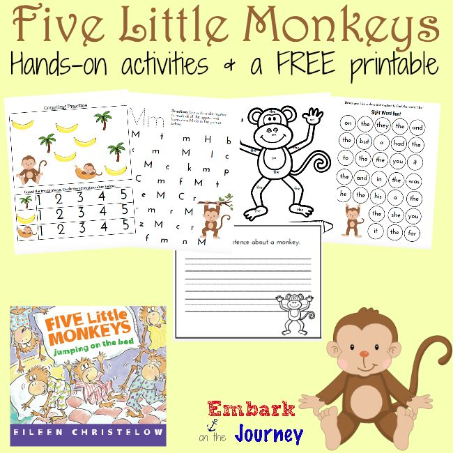 Here's a fun collection of hands-on activities and a FREE monkey-themed printable for PreK-K kiddos! | embarkonthejourney.com