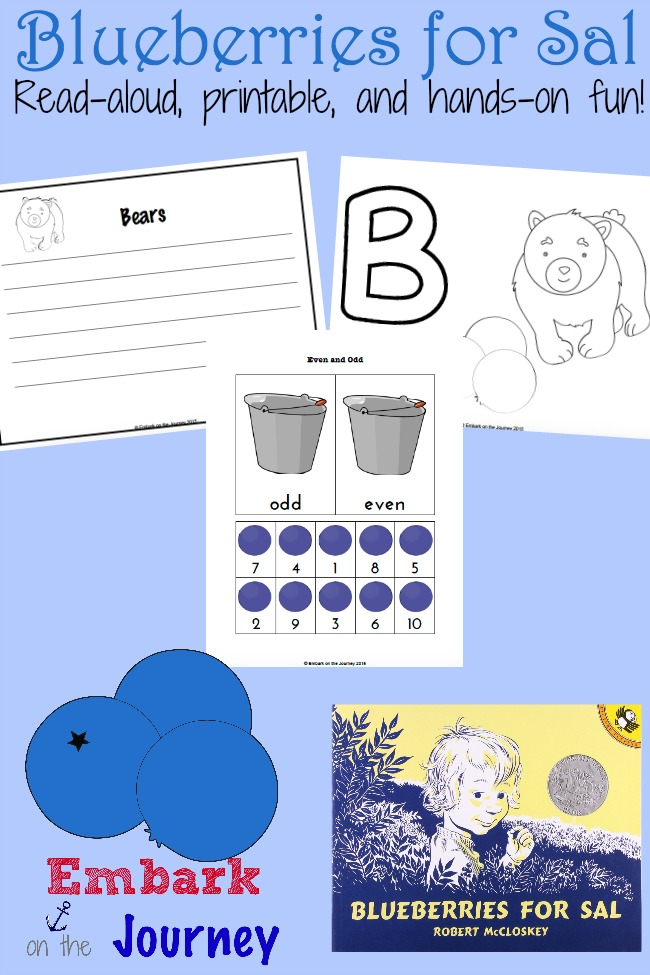 Blueberries for Sal: A read-aloud, a new printables, and fun hands-on activities! | embarkonthejourney.com
