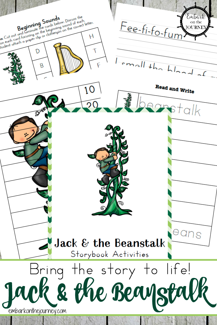 Bring the story to life with these Jack and the Beanstalk free printables and activities for kids in grades K-3! | embarkonthejourney.com