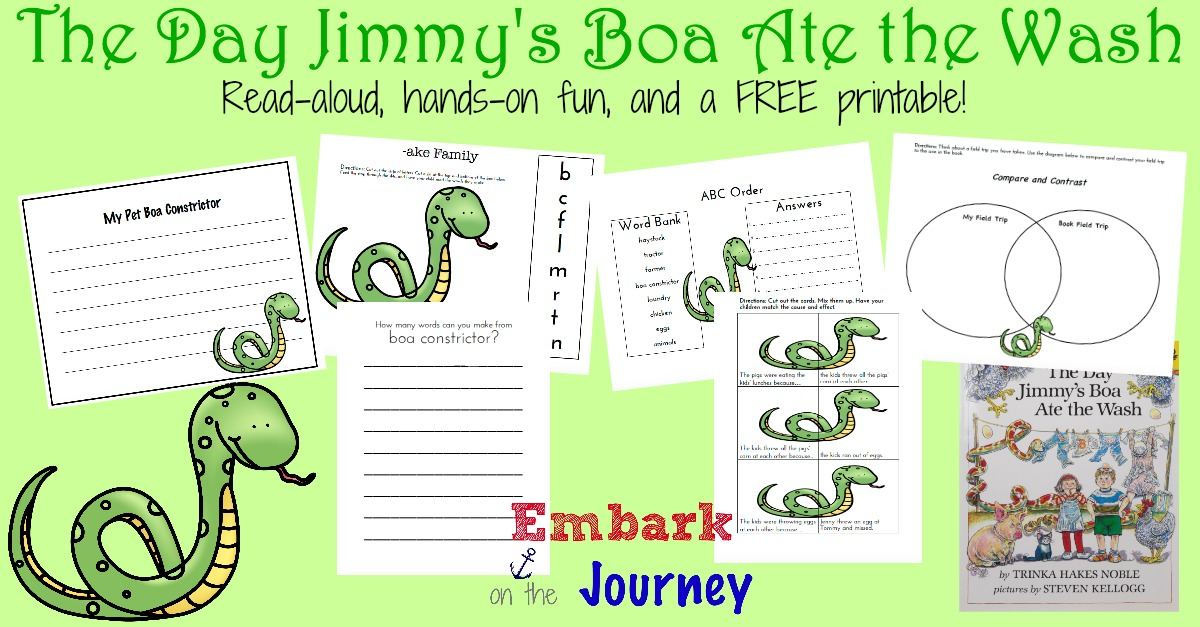 Read-aloud activities, hands-on fun, and a FREE printable for The Day Jimmy's Boa Ate the Wash | embarkonthejourney.com