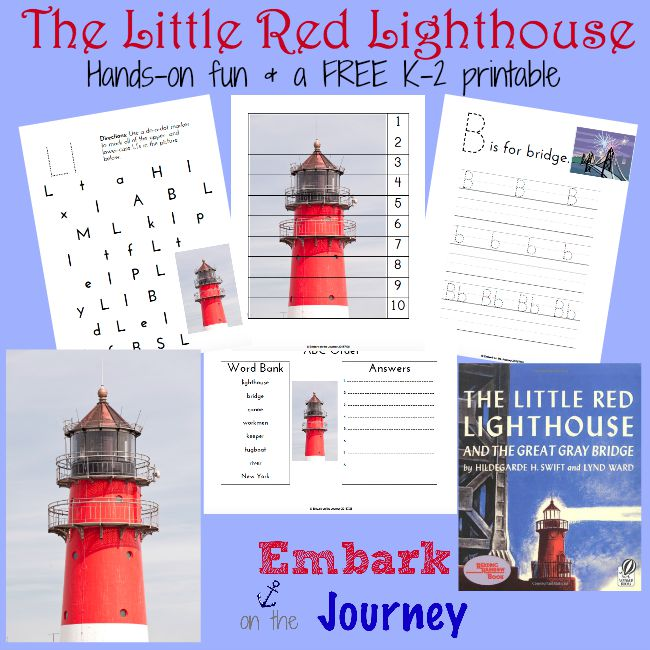 Here's a fun collection of hands-on activities and a FREE K-2 printable to use when you read The Little Red Lighthouse and the Great Grey Bridge with your little ones. | embarkonthejourney.com