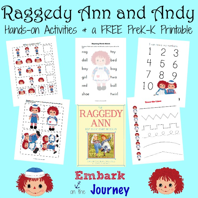 A collection of hands-on Raggedy Ann & Andy activities and a FREE PreK-K printable. | embarkonthejourney.com