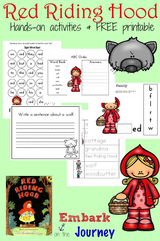 collection of Red Riding Hood hands-on activities and a FREE printable ...