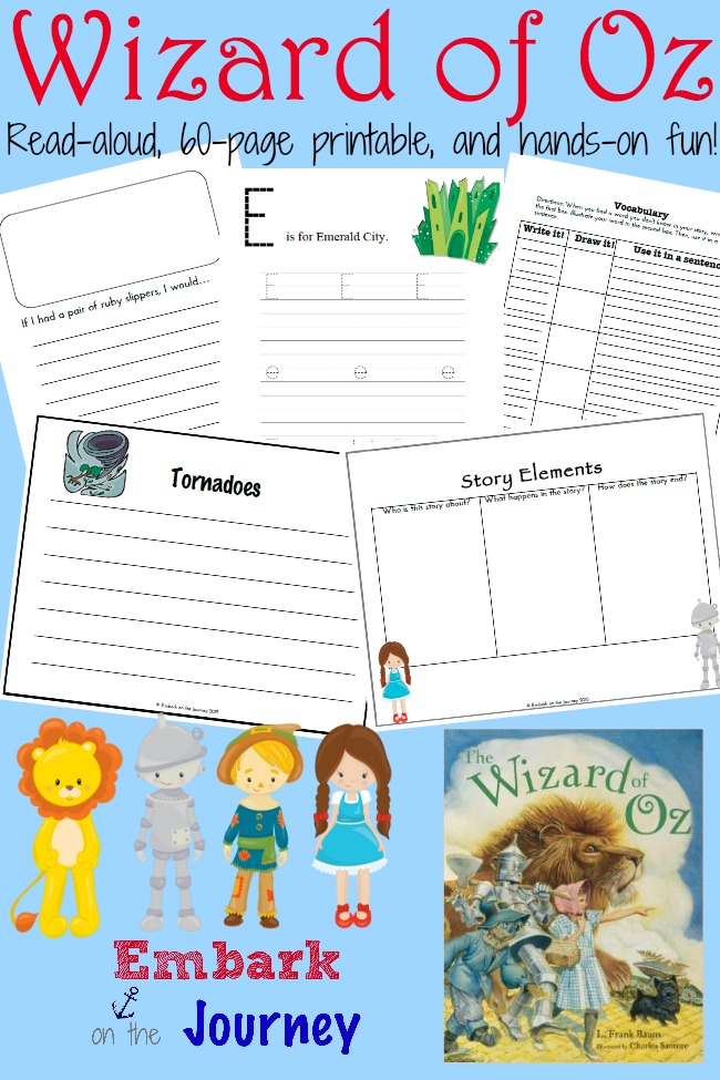 Wizard of Oz read-aloud, FREE 60-page printable, and hands-on fun! | embarkonthejourney.com