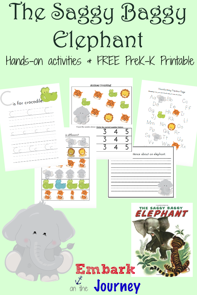 Saggy baggy elephant activities and free printable heres a fun collection of hands on activities and a free prek k printable ibookread PDF