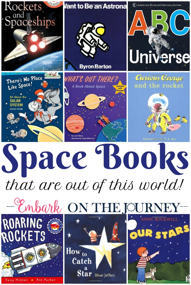 "Fill your bookshelves with books about space, planets, astronauts, and more. Inspire your kids to get outside and ""look up."""