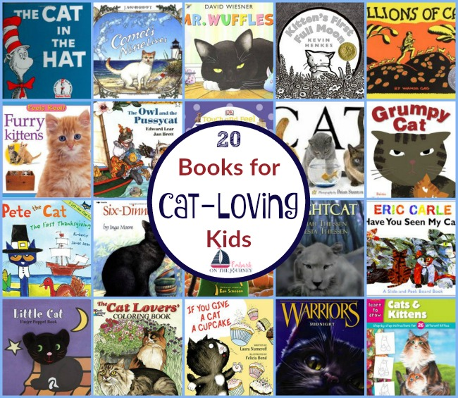 My kiddo loves cats, but she's allergic to them. Therefore, she likes to read about them - a lot! Here's a great list of books for cat-loving kids of all ages. | embarkonthejourney.com