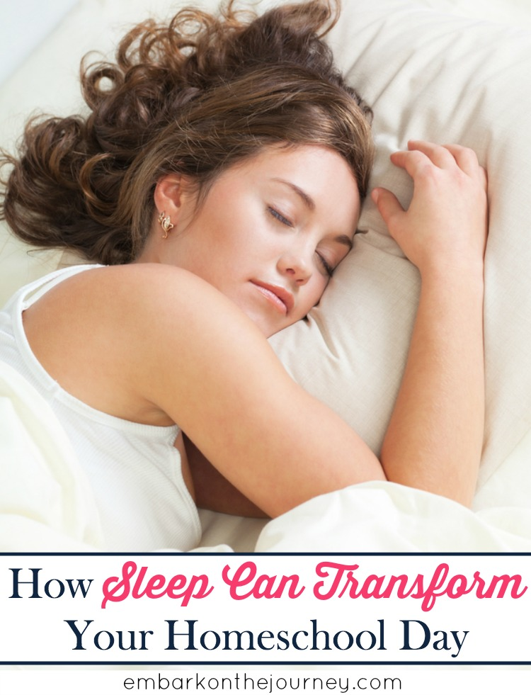 Studies have shown that our kids need more sleep than they're getting. So, I started letting mine sleep in instead of setting an alarm. I can't get over how a little extra sleep has transformed our homeschool day! | embarkonthejourney.com