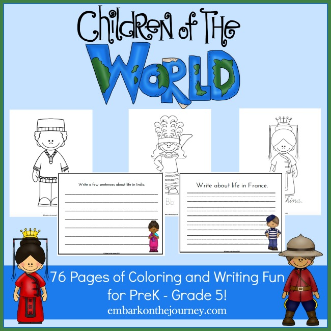 Children of the World Coloring and Writing Fun