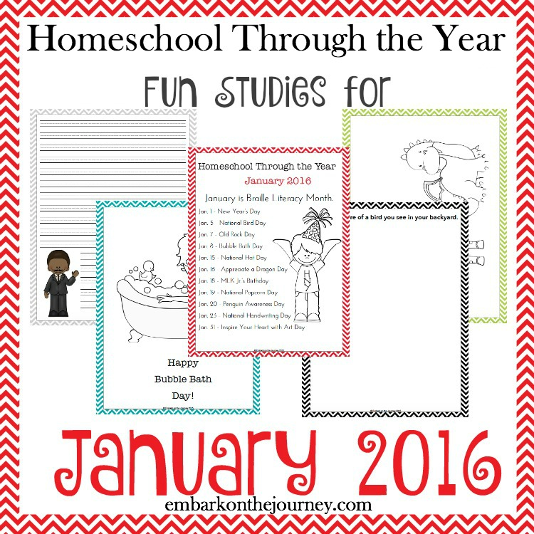 Add some fun studies to your January homeschool lessons with these units, printables, books, and more. | embarkonthejourney.com
