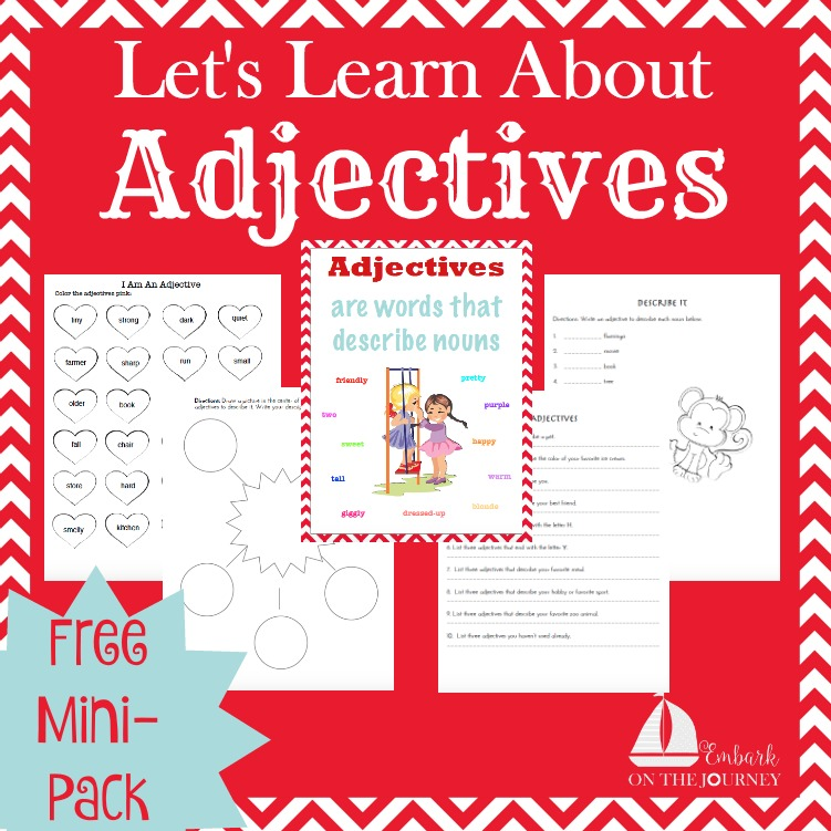 This free mini-pack is a great addition to your grammar lessons. Introduce or reinforce adjectives with these free worksheets. | embarkonthejourney.com