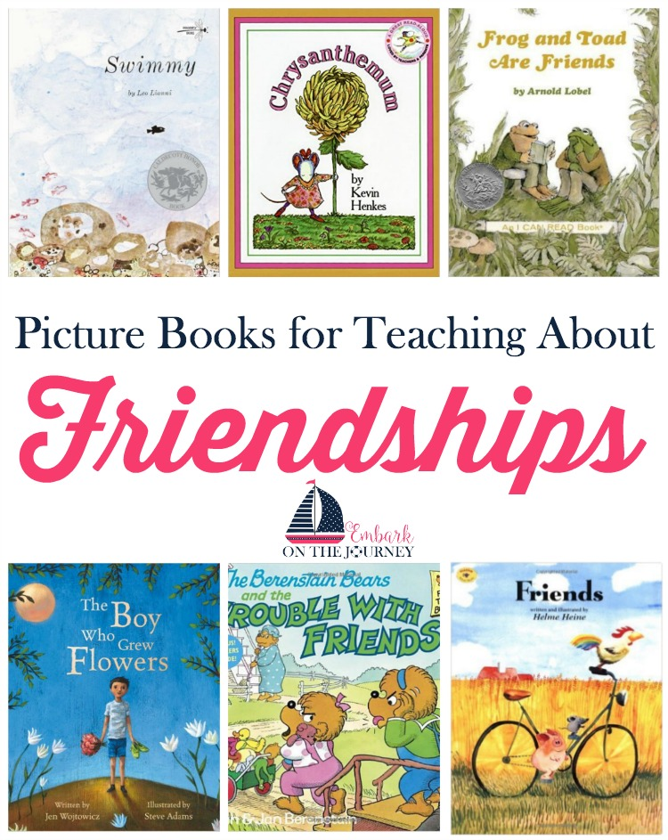 Picture books are a great way to talk to your kids about what makes a good friend. Here's a short list with a free printable pack for teaching your kids about friendships. | embarkonthejourney.com