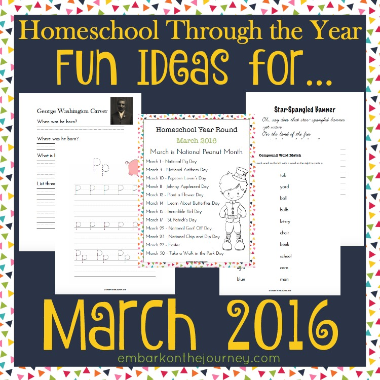 Add some fun studies to your March homeschool lessons with these units, printables, books, and more. | embarkonthejourney.com