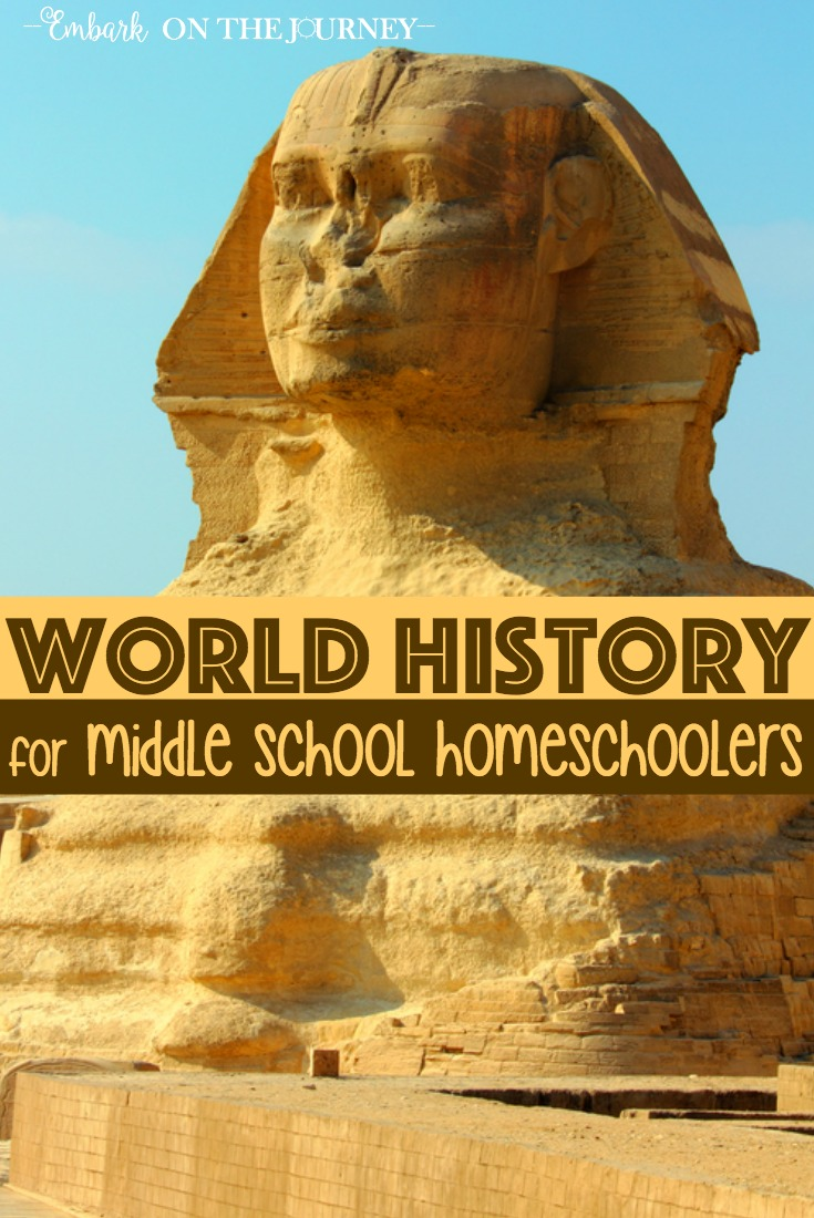 World history doesn't need to be dry and boring. Get your middle schoolers excited about history with engaging text, vivid pictures, historical documents, hands-on projects, and more! | embarkonthejourney.com