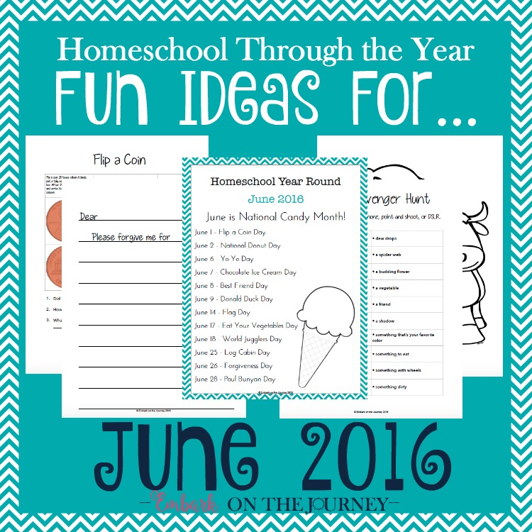 Add some fun studies to your June homeschool lessons with these units, printables, books, and more. | embarkonthejourney.com