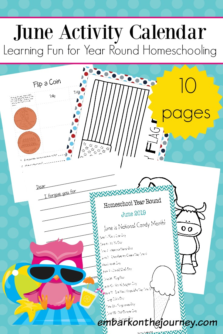 This June Activity Calendar features educational activity pages for year round homeschooling fun!