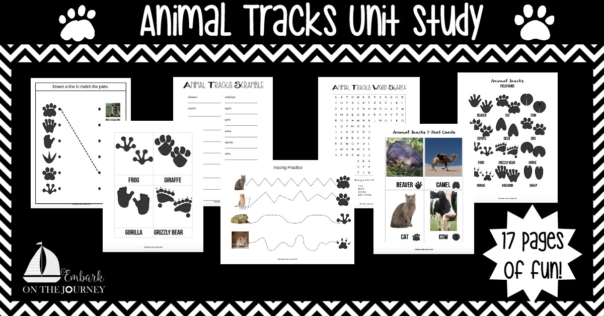 Get your kids outside and explore nature with this fun Animal Tracks Unit Study! This study contains a fun video, book list, hands-on activities, and a 17-page printable! | embarkonthejourney.com