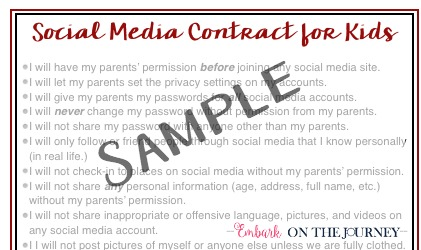 How do you know if your child is ready for social media? Here's what you need to ask yourself, and a printable social media contract you can use with your kids when you determine that they're ready. | embarkonthejourney.com