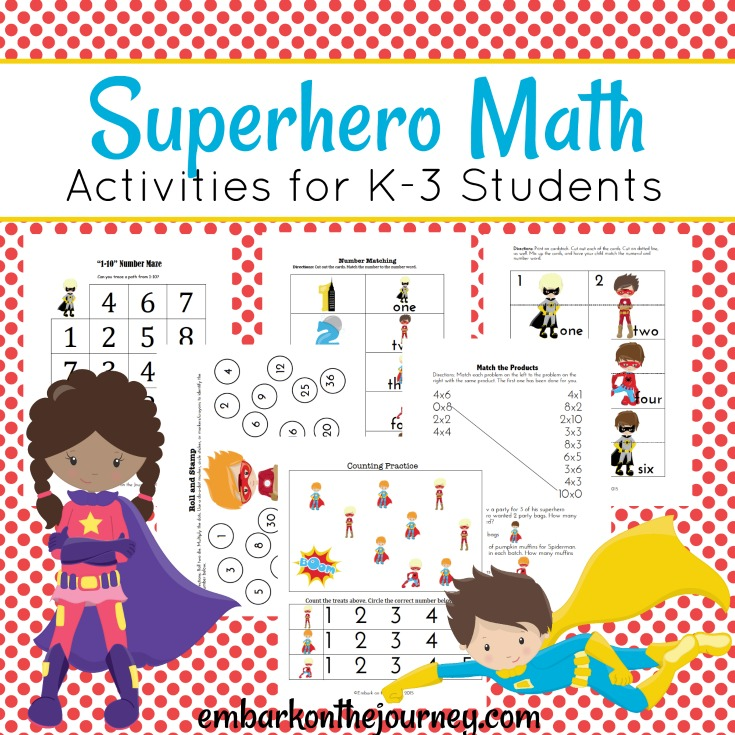 You'll save the day with these fun superhero math activities for kids in grades K-3! Pages focus on numbers, addition, subtraction, and multiplication.