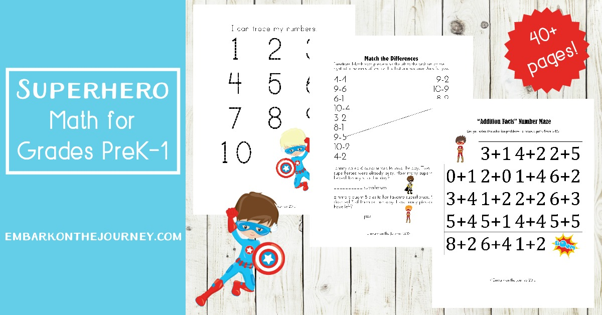 You'll save the day with these fun superhero math activities for kids in grades K-3! Pages focus on numbers, counting, addition, and subtraction.