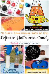 You have to check out these awesome ideas! 30 fun and educational ways to use leftover Halloween candy! Math, science, crafts, and more! | embarkonthejourney.com