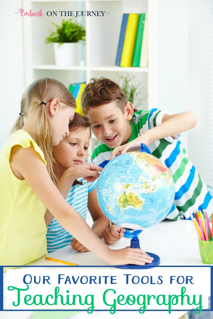 When teaching geography in my homeschool, there are a few tools I like to keep on hand. Many of these tools are ones I've had on my shelves throughout my sixteen year homeschool journey. What would you add to the list? | embarkonthejourney.com