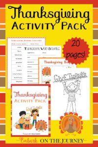 Add a little holiday fun to your homeschool lessons with this Thanksgiving printable activity pack! | embarkonthejourney.com