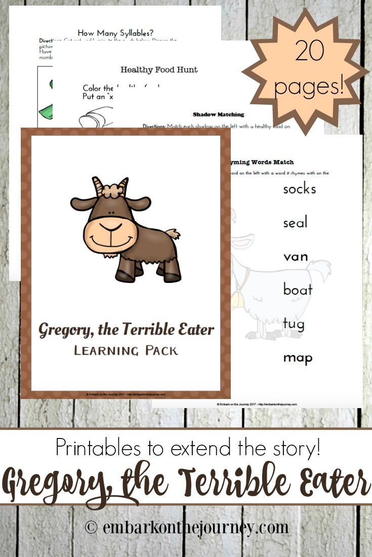 Here's a fun collection of hands-on activities and a FREE K-2 printable for Gregory, the Terrible Eater! | @homeschljourney